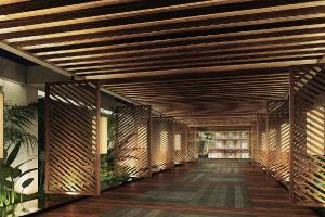 ロビーに続く ハワイ島在住のデザイナー、シグ・ゼーン氏設計の落ち着きと品位のある空間