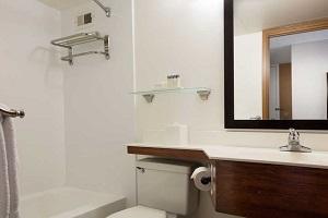 【バスルーム】バリアフリー対応ルームには、車いすで入れるロールイン・シャワーとシャワーチェア、および聴覚障碍者用電話TDD機器をご用意しております。